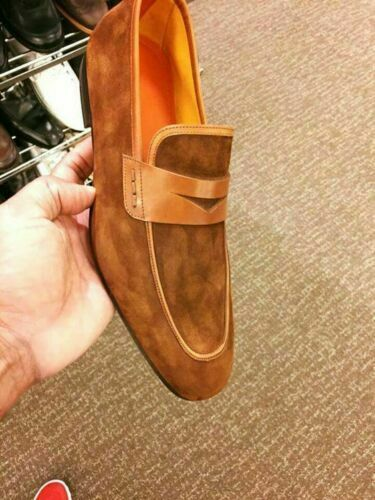 Details about Handmade Men's Leather Loafers Moccasin & Slip