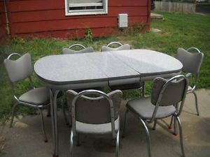 Chrome Dinette Chairs retro chrome dinette set | retro-1950s-dinette-set-table-6-chairs