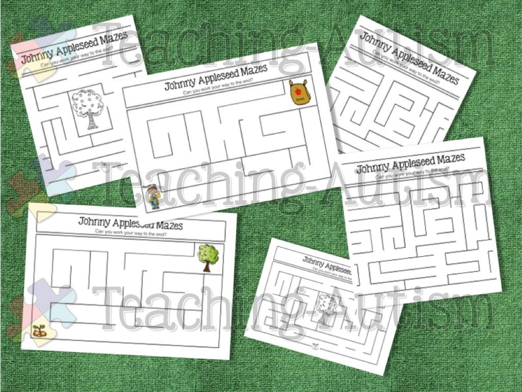 Johnny Appleseed Activities Maze Worksheets