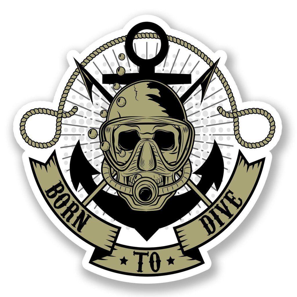 Scuba diver crossbones decal scuba diving mask fins tank skull badge sticker