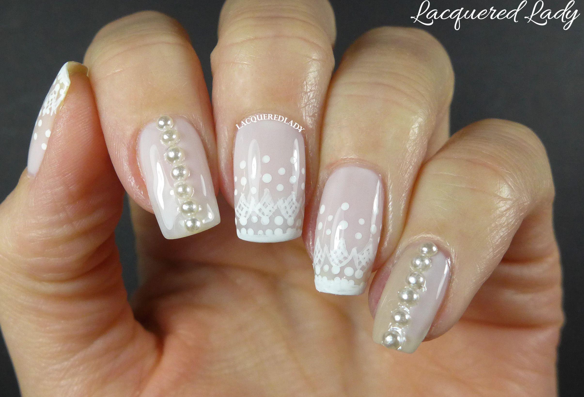 diamond and pearl nails   Lace and Pearls Nail Art   Wedding Nails ...