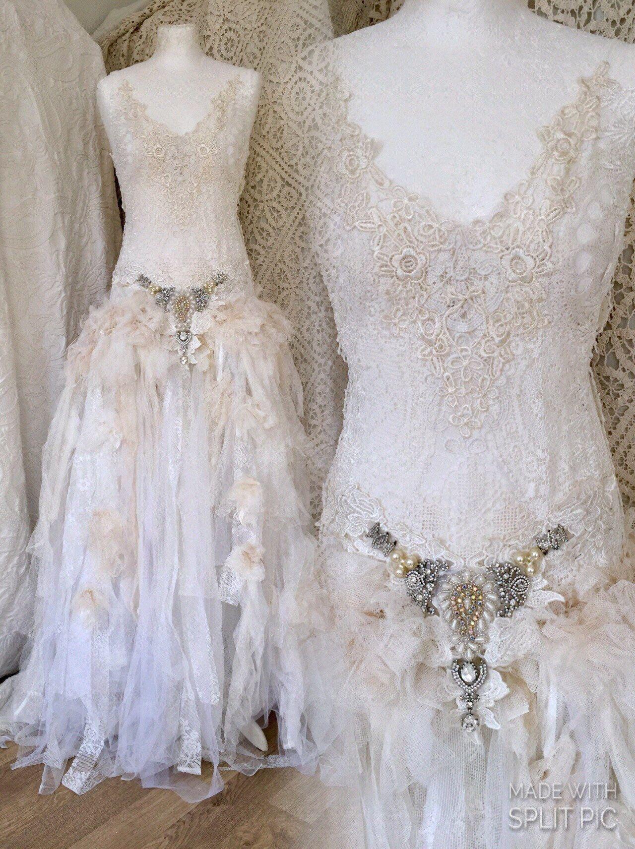 Wedding dress etherealbridal gown uniqueantique french laceboho