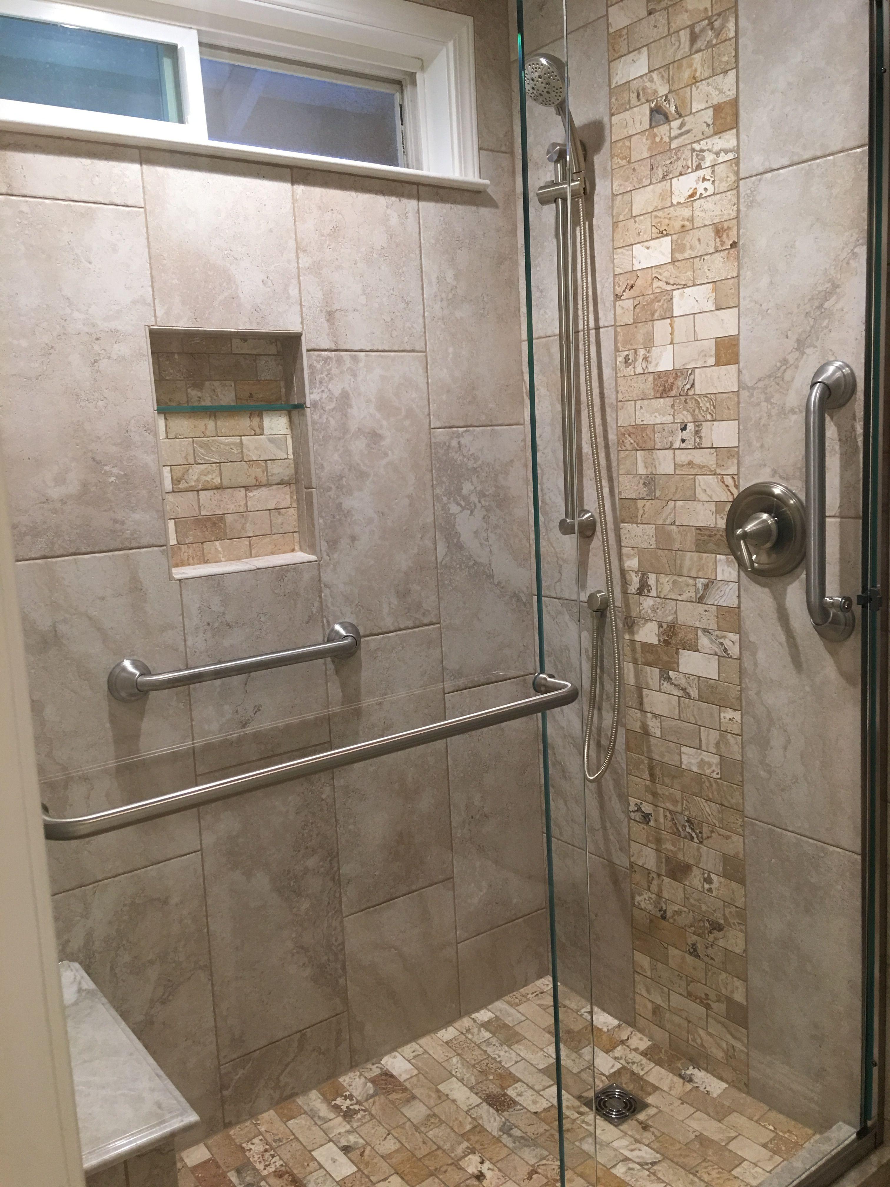 Bathroom Remodel Updated Bathroom New Shower Starfire Glass 83 Tall Shower Doors Lowes Tile Brushe Bathroom Remodel Master Bathrooms Remodel Shower Doors