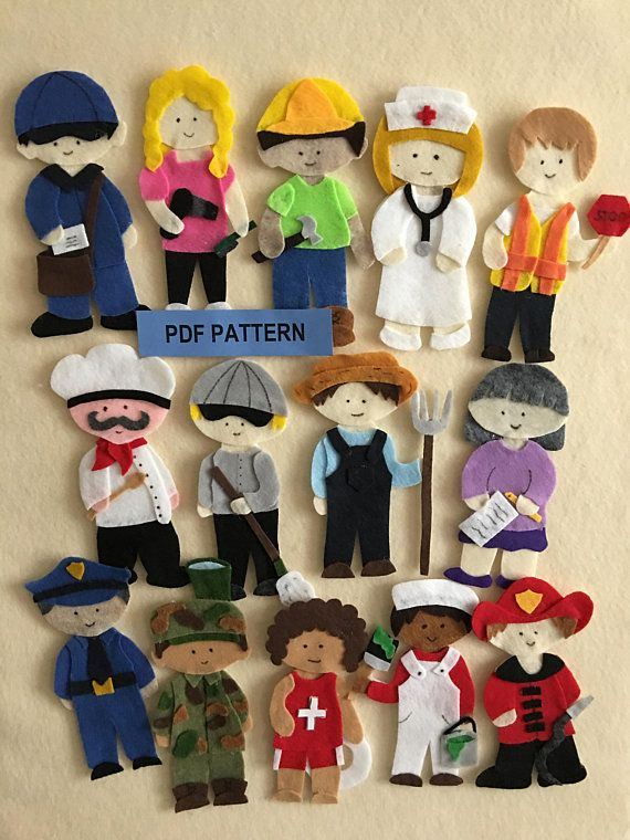 Community Helpers Felt Board Policeman Fireman Chef Soldier Nurse Hair Sylist And 8 Others P Felt Board Diy Felt Board Felt Dolls