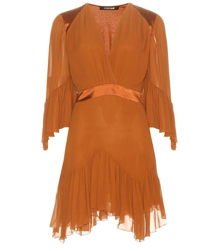 Roberto Cavalli Kleid Aus Seide Braun Silk Chiffon Dresses Orange Dress