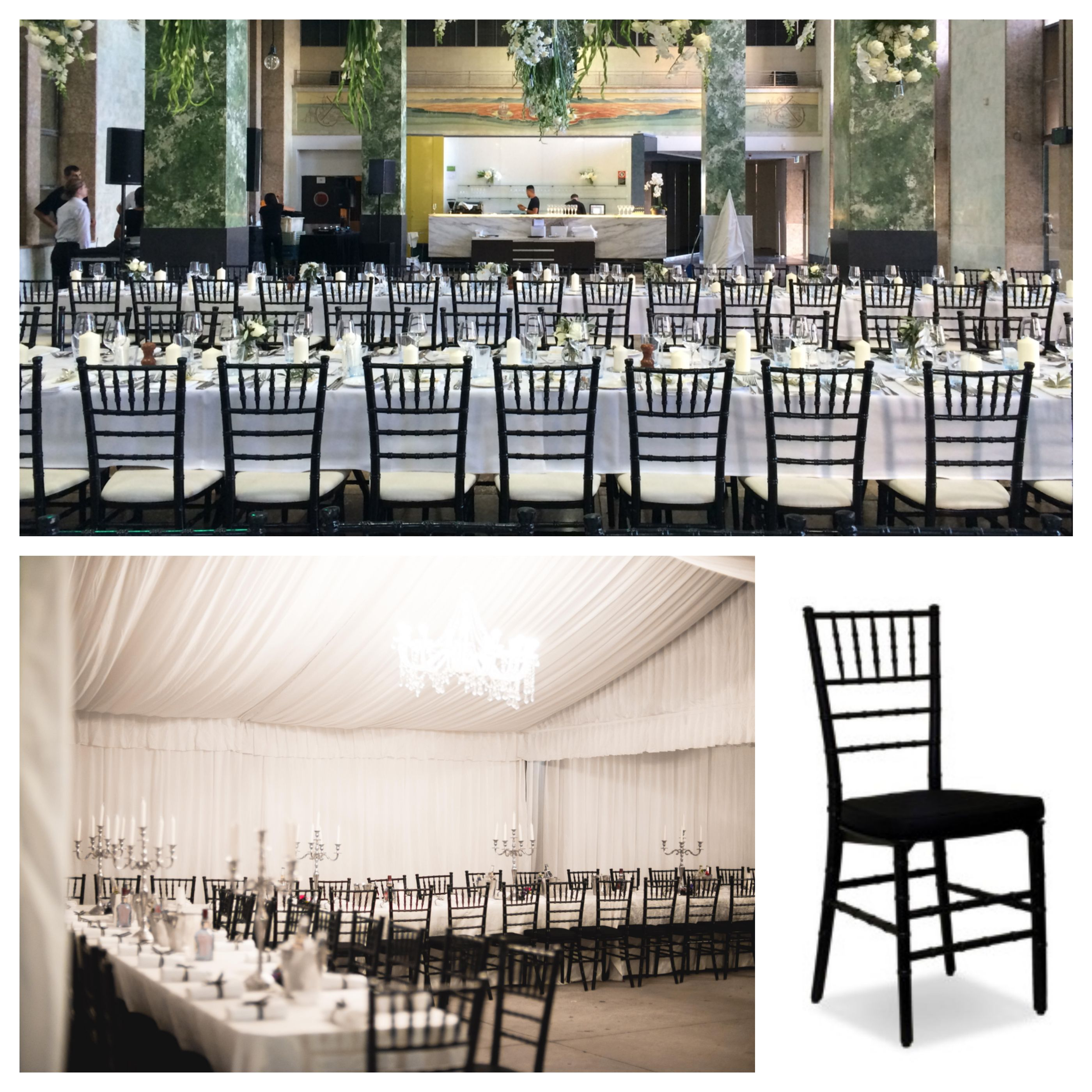 the black tiffany chair is perfect for an outdoor marquee wedding or