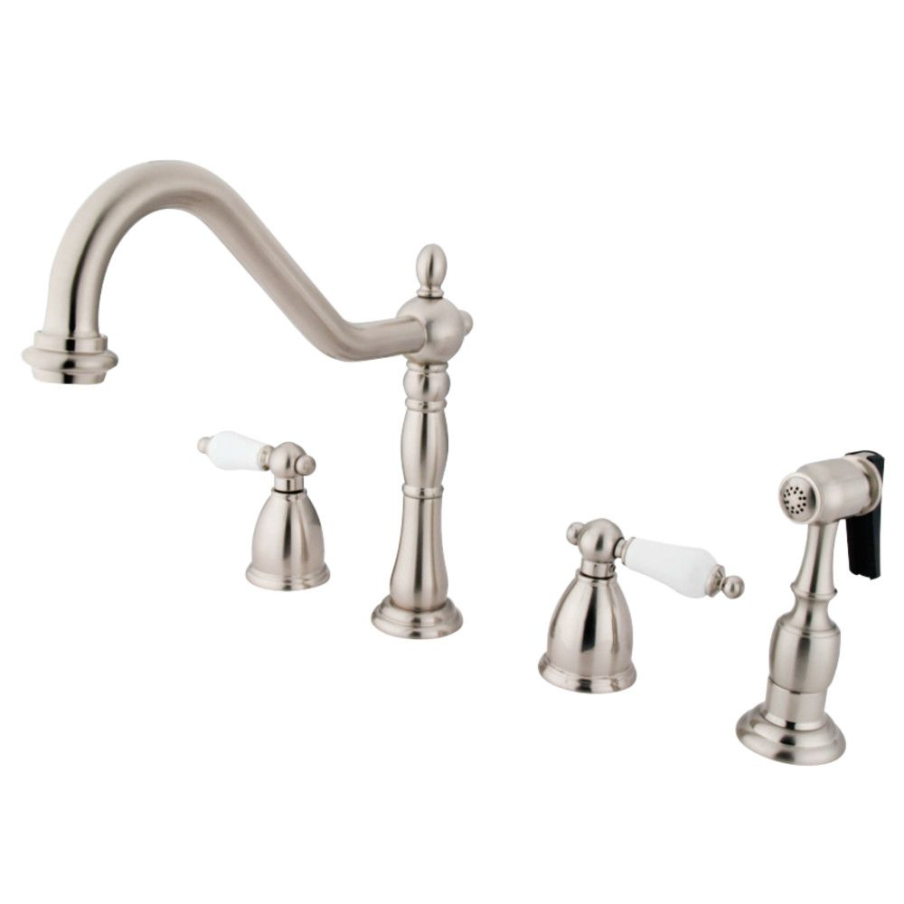 Kingston Brass KB1798PLBS Heritage Widespread Kitchen Faucet with ...