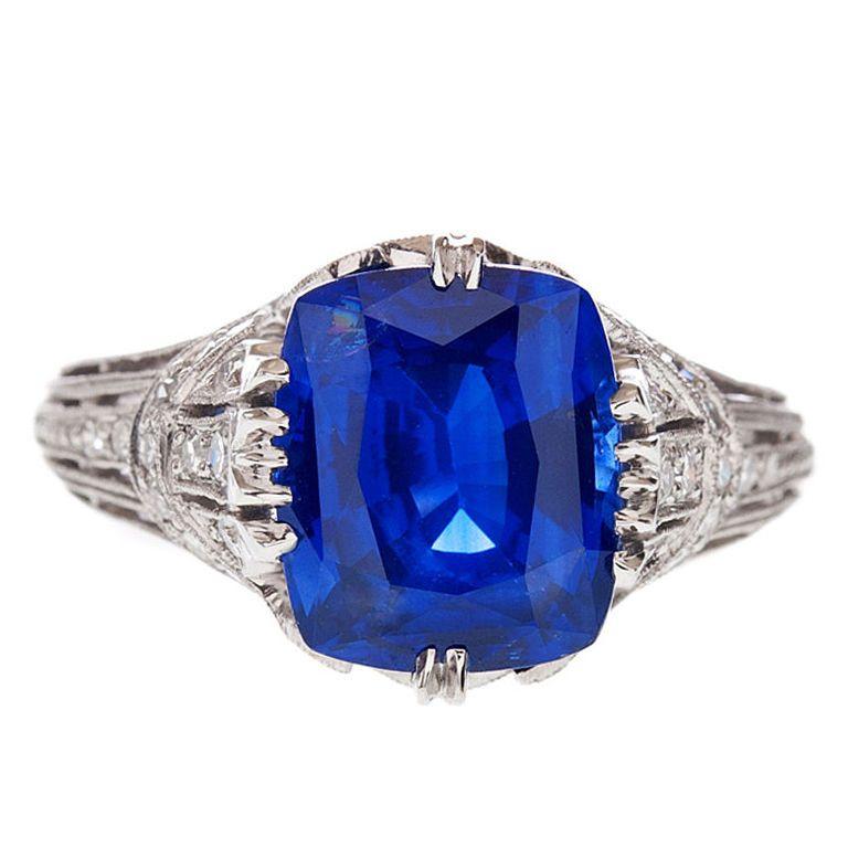 Cushion Cut Sapphire Ring  www.fourtane.com