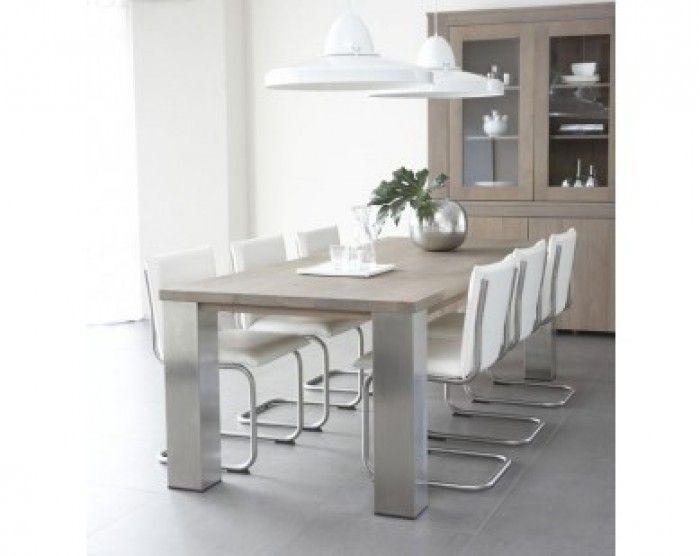 Complete eettafel met stoelen loungeset 2017 - Oude tafel en moderne stoelen ...