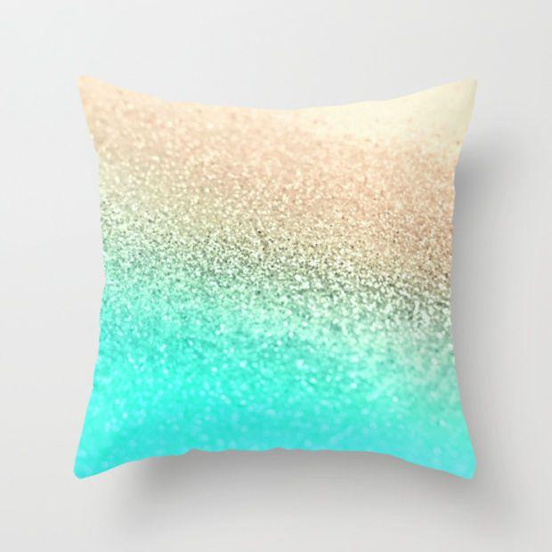 Gatsby Aqua Gold Throw Pillow By