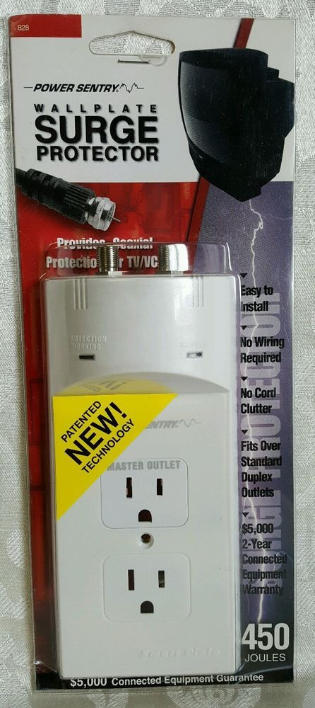 Sentry Wall Plate Surge Protector Cable Coaxial Tv Vcr Master Outlets Kit Strip