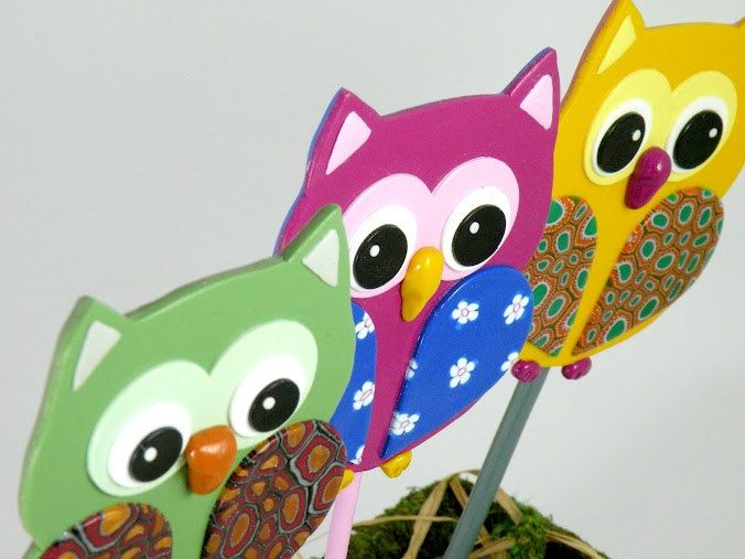 Owl Garden Stakes   Ornament, Table Decorations For Birthday Or Shower,  Blue, Pink