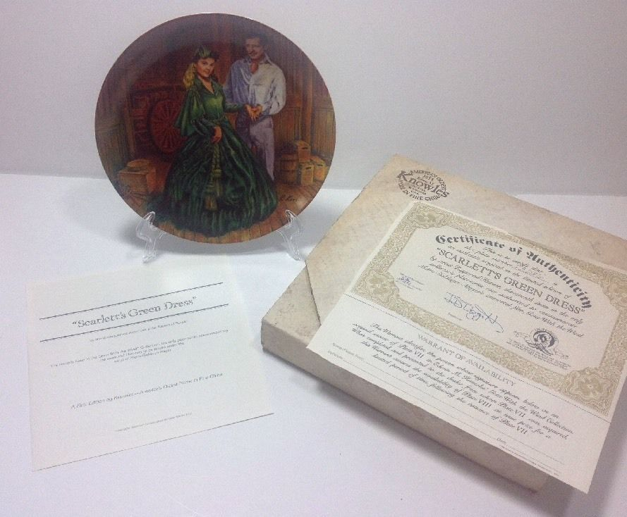 Scarlett's Green Dress Gone With The Wind Collector Plate 7th COA Box MGM 1984