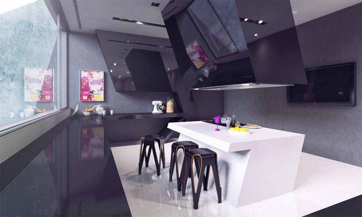 Moderne Küche Insel Designs Futuristisch, Geometrische Weißen ...