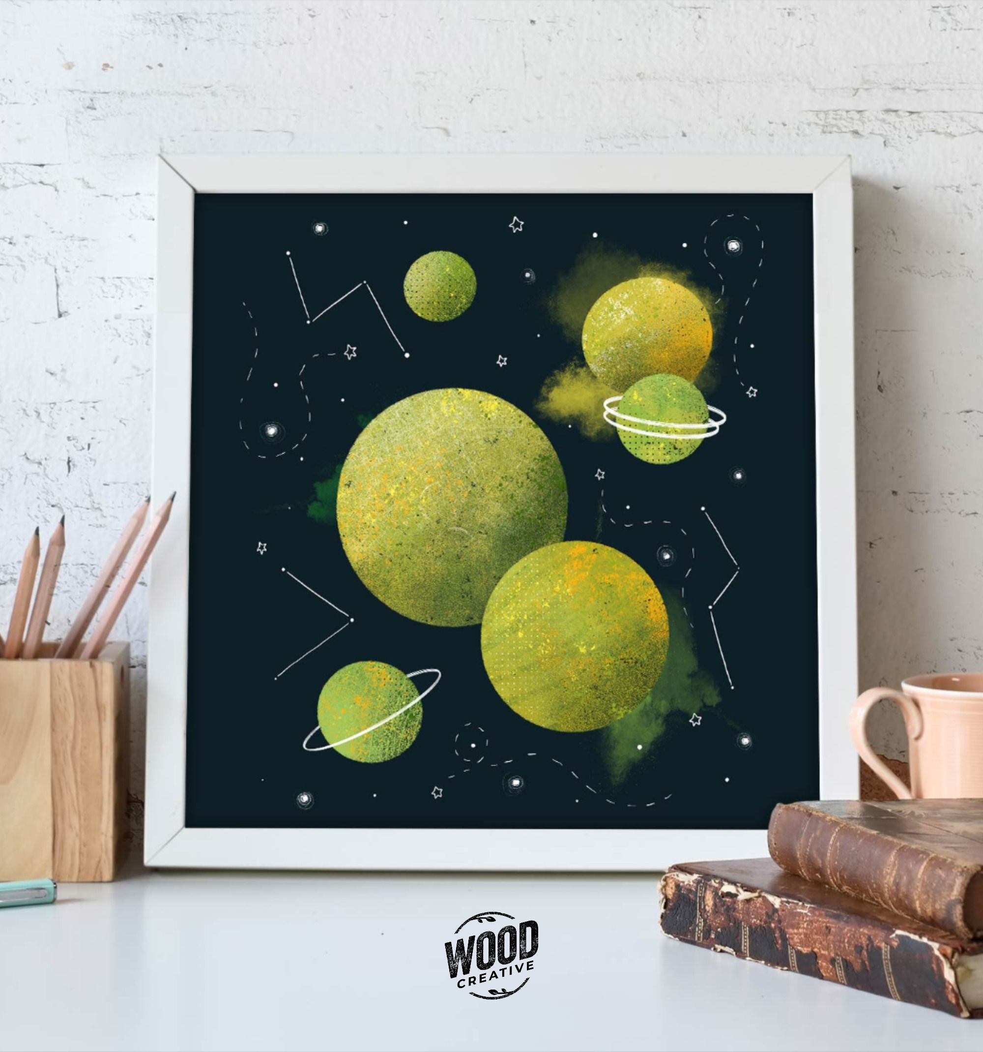 Brighten up any room with our Green Space print! Great print for any room in the house. #etsyshop #printsforsale #woodcreativellc #walldecor #wallart #originalprints #illustration #space #spaceart #spacelove #etsy
