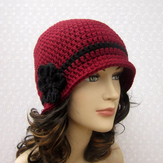 Crochet Pattern Womens Hat : Cranberry Red Crochet Hat - Womens Cloche - Ladies Flapper ...