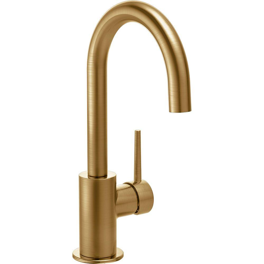 Delta Contemporary Single Handle Bar Faucet In Champagne Bronze 1959lf Cz In 2020 Bar Faucets Delta Faucets Faucet