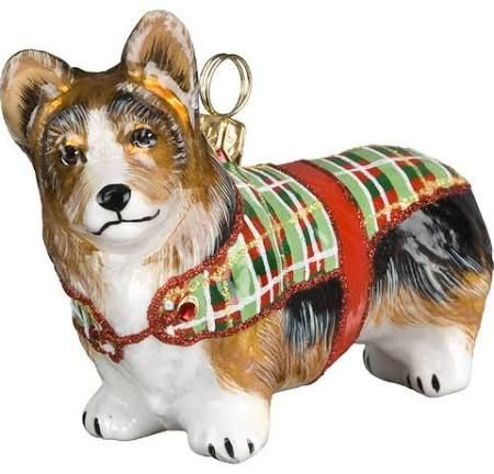 pembroke welsh corgi in tartan sweater christmas ornament from joy to the world collectibles z - Corgi Christmas Ornaments