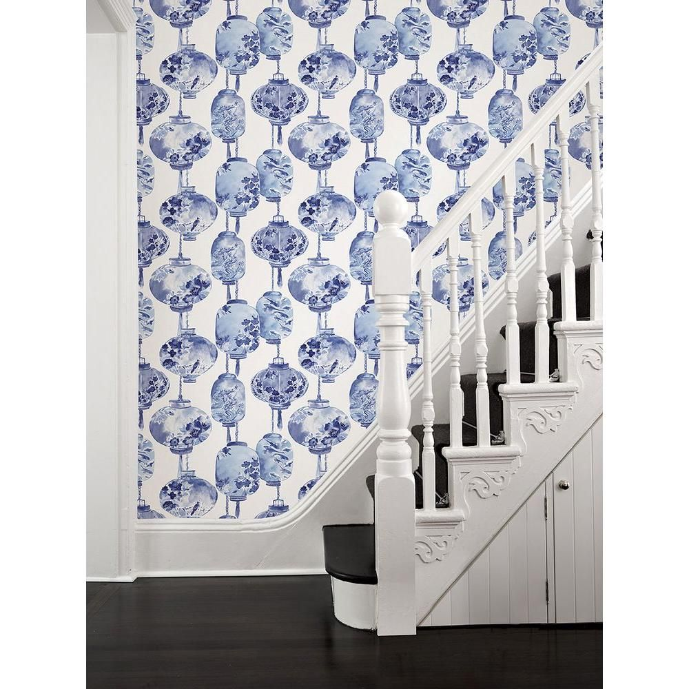 Beacon House Kana Sapphire Lantern Festival Sapphire Wallpaper Sample 2669 21713sam The Home Depot Blue And White Wallpaper Wallpaper Decor Home Wallpaper