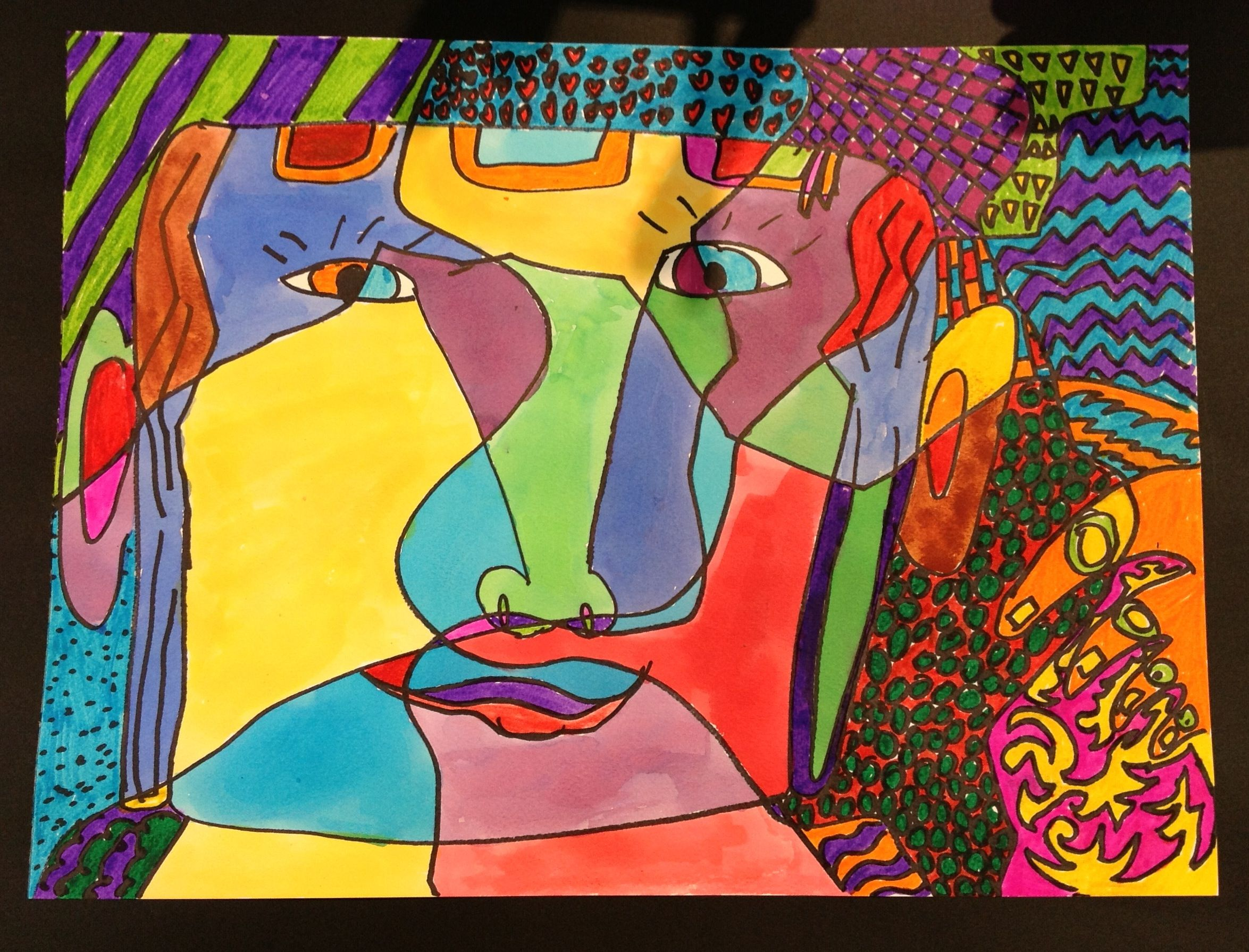 In the manner of picassos cubism self portrait with matisse inspired patterned background