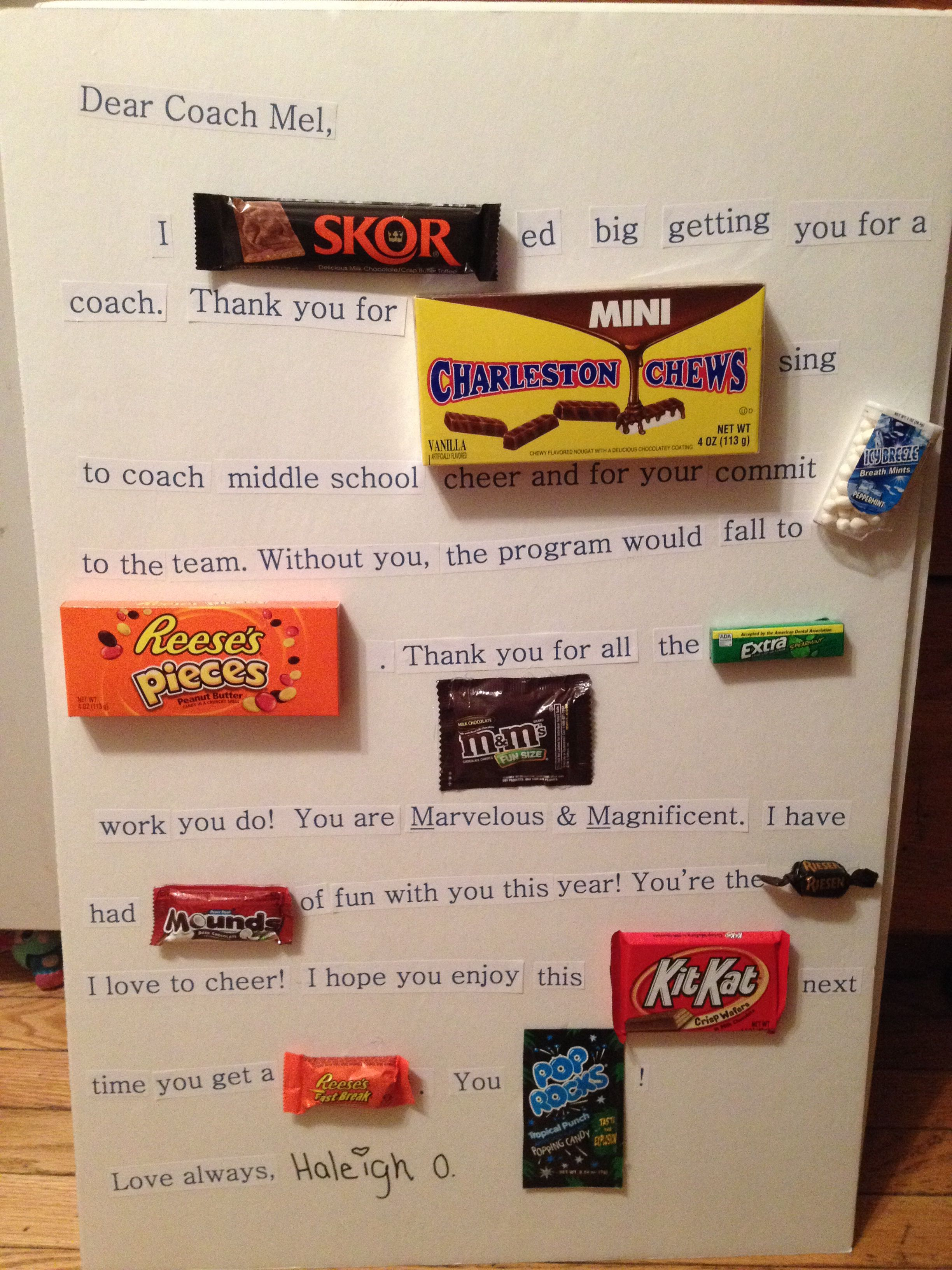 A Thank You Gift For My DaughterS Cheer Coach Candy Letter