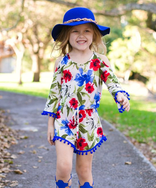 Tan & Royal Blue Floral Cailey Romper - Toddler & Girls