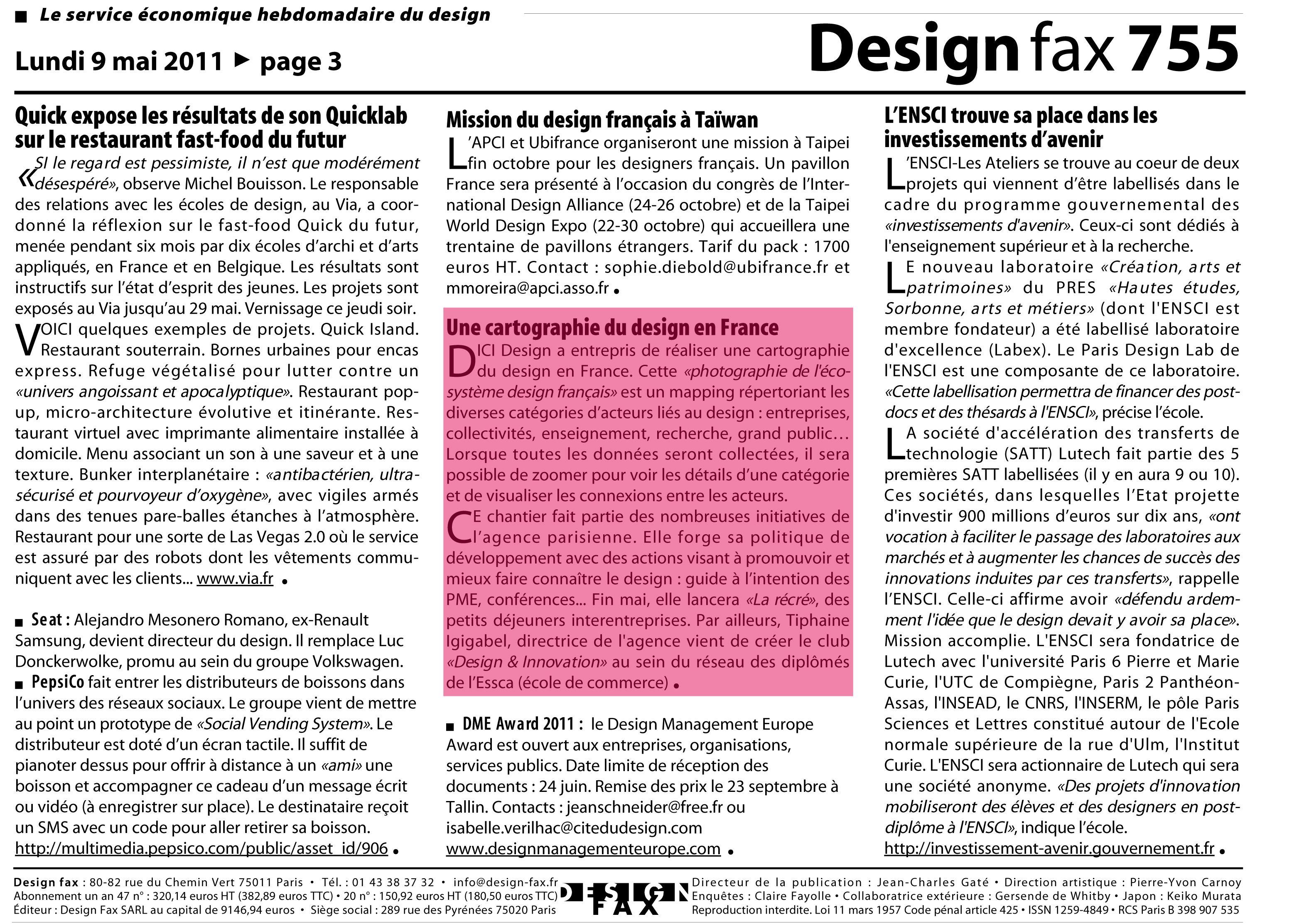 Design Fax 755 Mai 2011 Une Cartographie Du Design En France Par Dici Design Restaurant Fast Food Cartographie Taipei