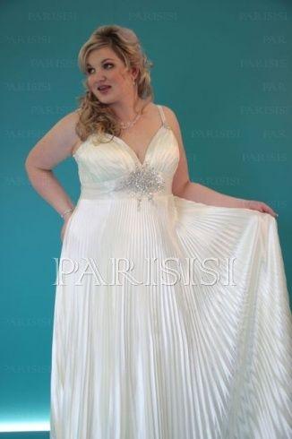 Plus Size Wedding Dress Hollywood Glamourwith Shiny Sunray Pleats