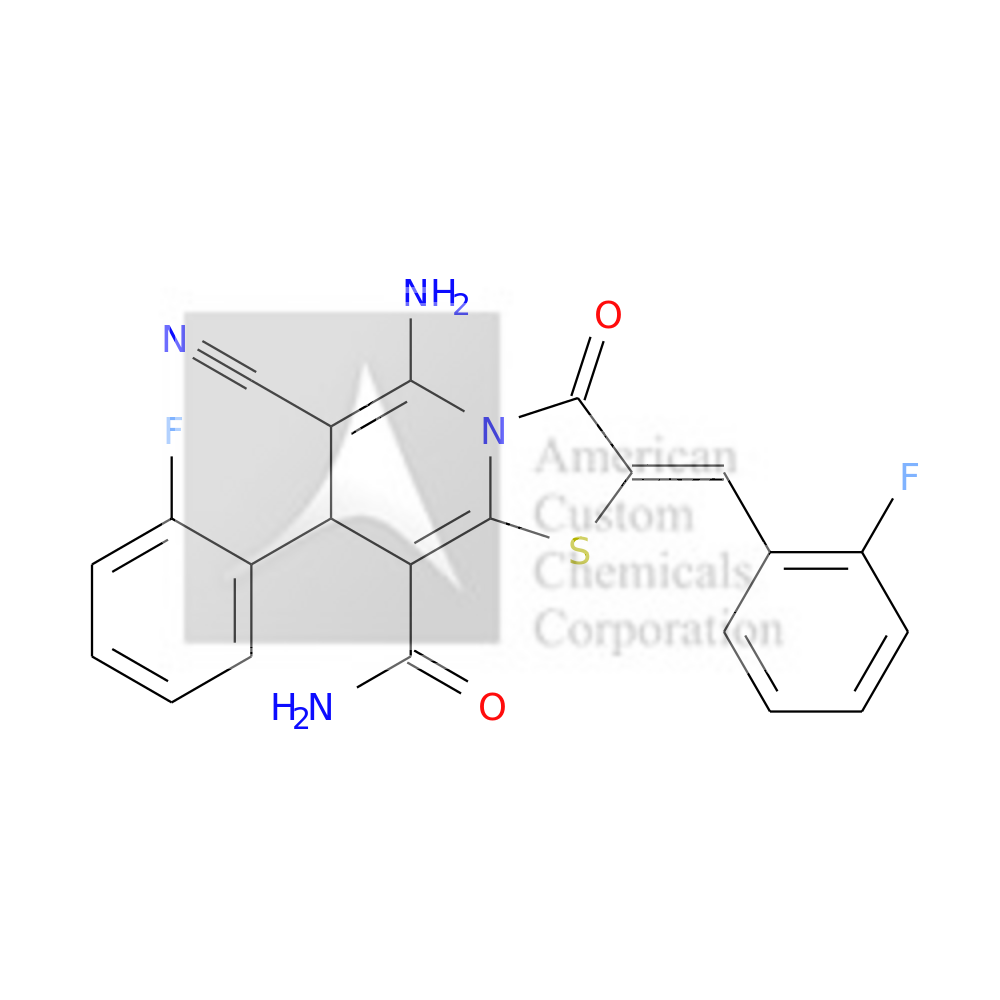 (2Z)-5-AMINO-6-CYANO-7-(2-FLUOROPHENYL)-2-[(2-FLUOROPHENYL)METHYLIDENE]-3-OXO-7H-[1,3]THIAZOLO[3,2-A]PYRIDINE-8-CARBOXAMIDE is now  available at ACC Corporation