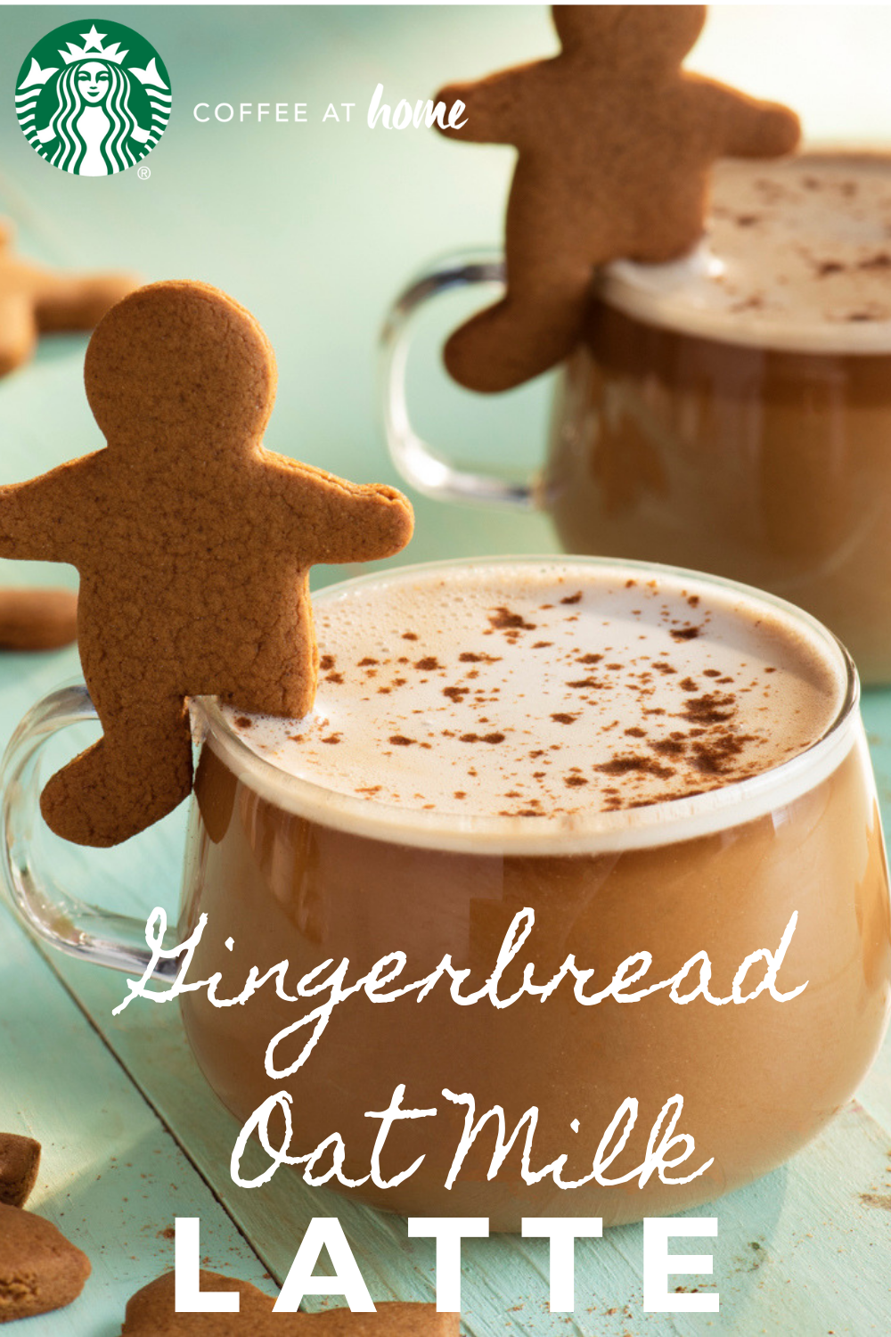 Made with frothed oat milk, spiced with gingerbread