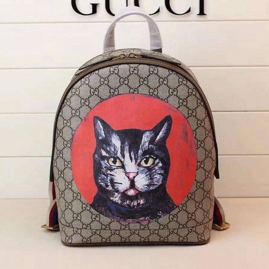 55d8a73c1d75 Gucci GG Supreme Cat Print Backpack 495621 2018 #Guccihandbags ...