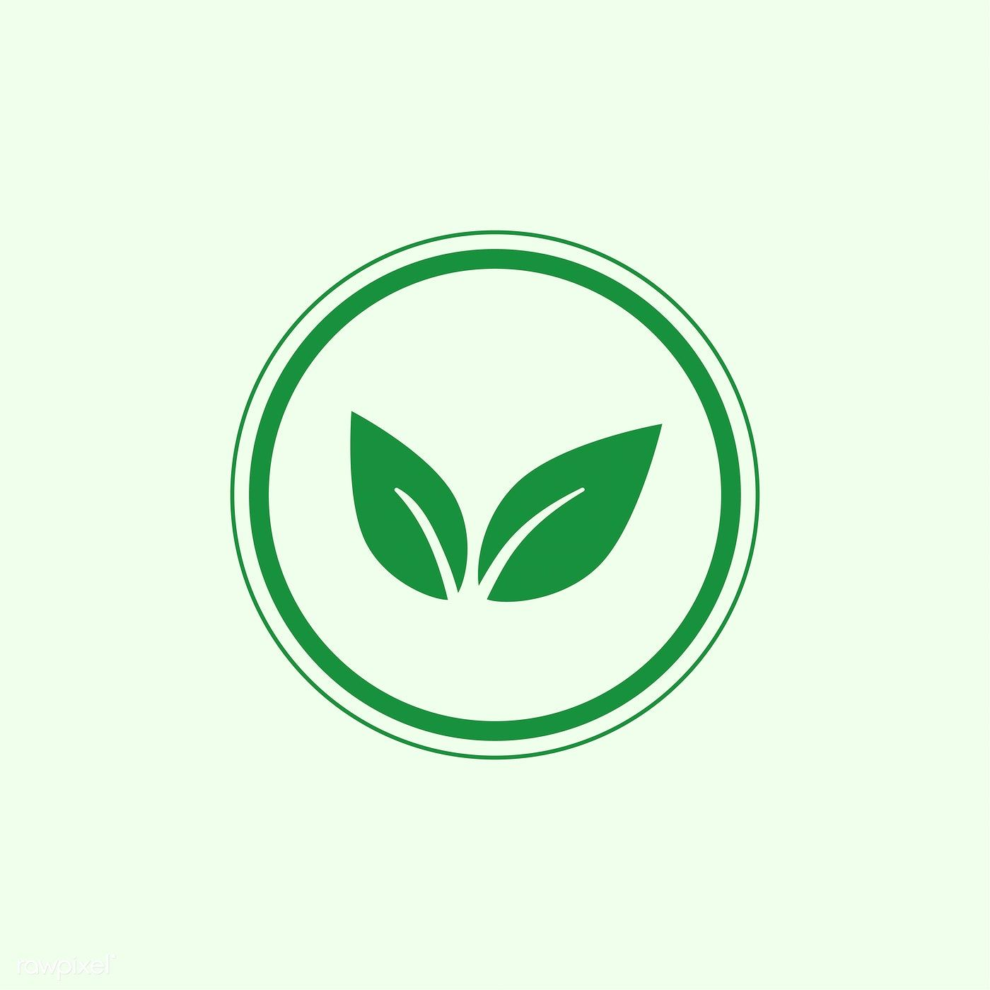 Green vegan logo vector in a circle free image by