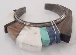 // Navajo bracelet, Met Collection; silver, turquoise,cobalt, wood, and stone.