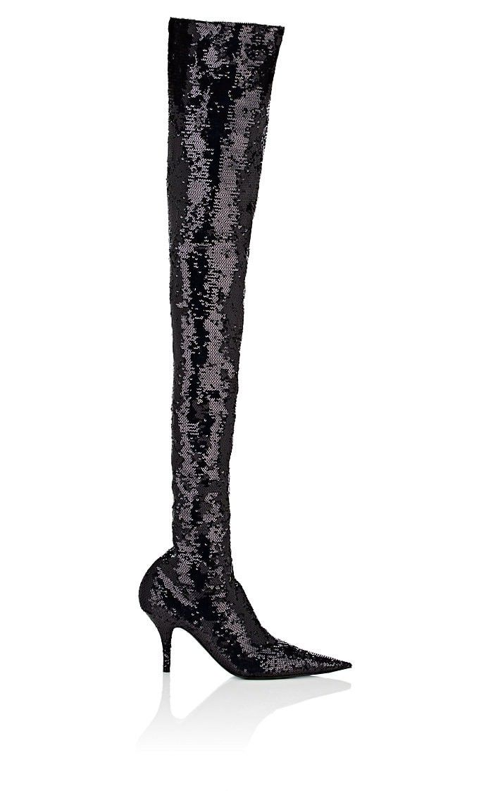 92fb3011c959 Balenciaga Knife Sequined Over-The-Knee Boots - 6.5