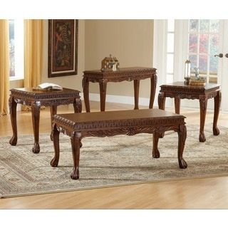 8226 cherry-finished veneer mdf deluxe carved 3-piece coffee table