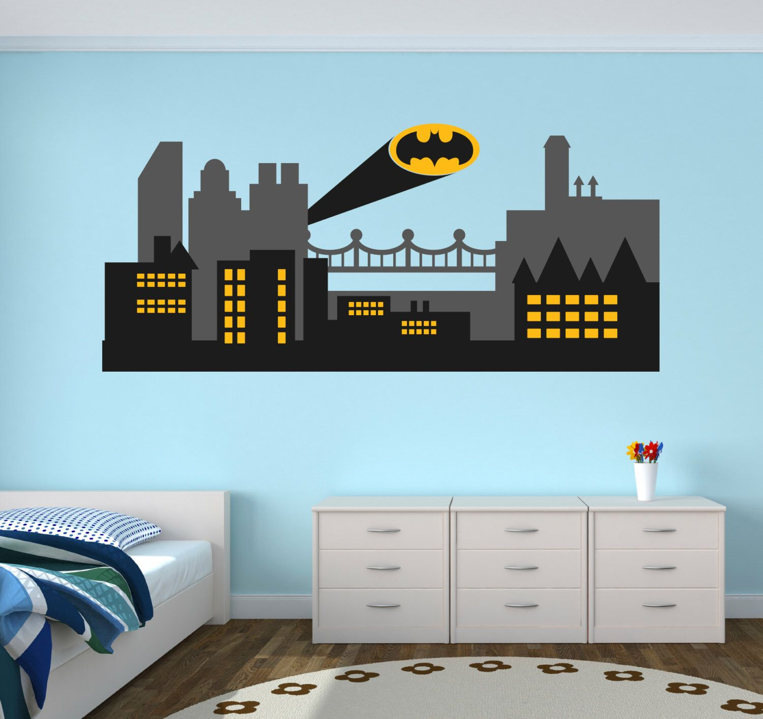 Gothic City Wall Decal Batman Gothic City Skyline Wall Art - Superhero wall decals for kids roomssuperhero wall decal etsy