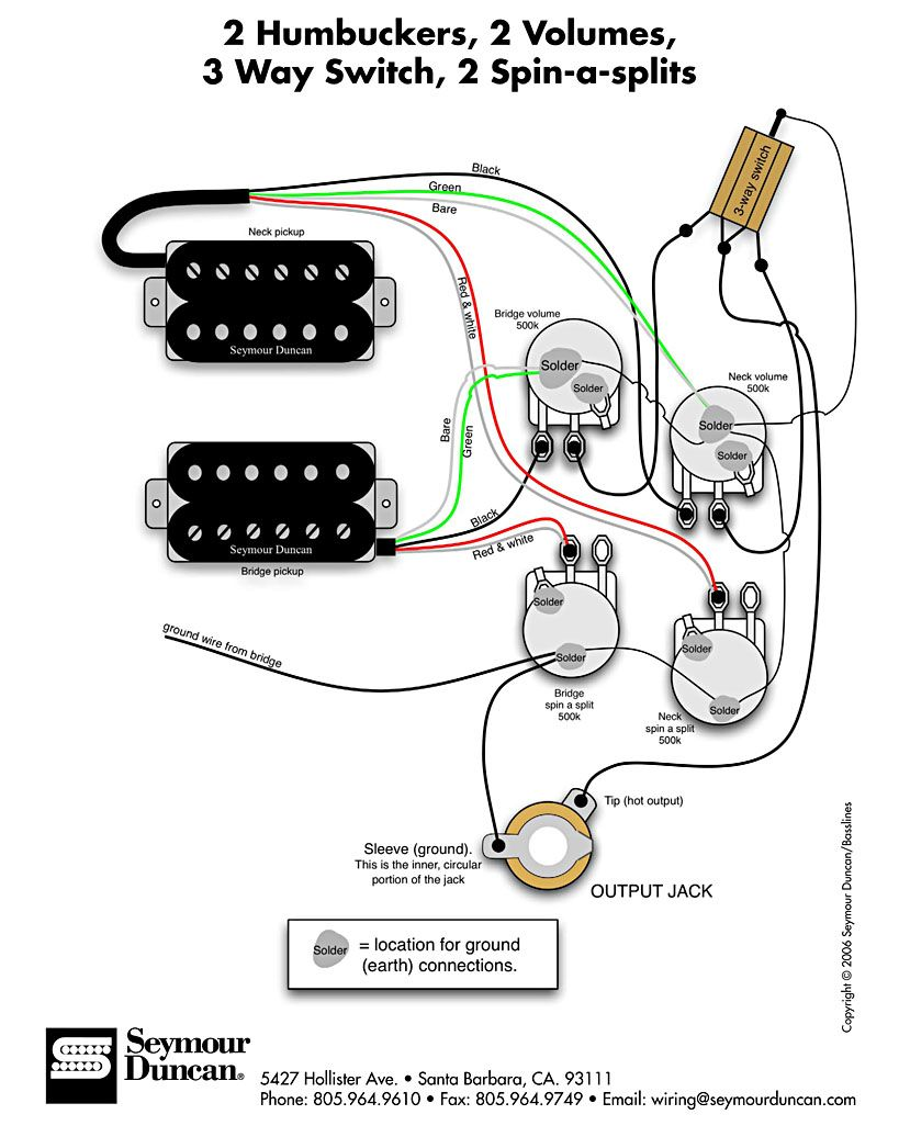Seymour Duncan wiring diagram - 2 Humbuckers, 2 Vol, 3 Way, 2 Spin-a-Splits