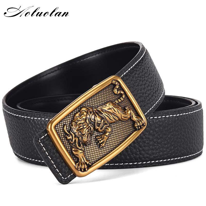 #aoluolan #genuine #leather #38mm #cinturones #rhinestone #tiger #head #buckle #men #jeans #belt #belts