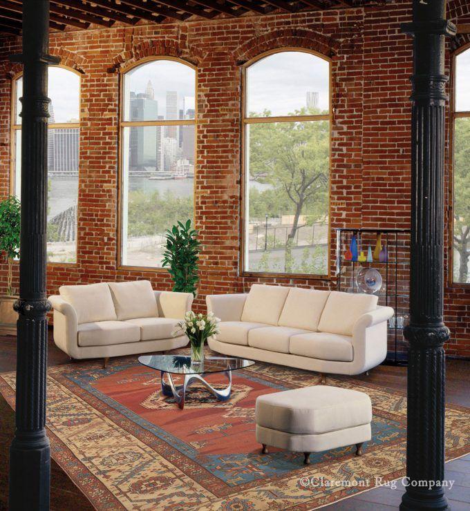 Antique Bakshaish Rug Decorates New York Industrial Loft