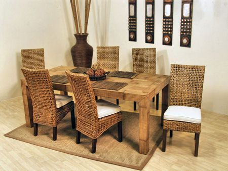 Pegasus Rectangle 79 Inch Dining Room Set From Hospitality Rattan Extraordinary Indoor Wicker Dining Room Sets Inspiration Design