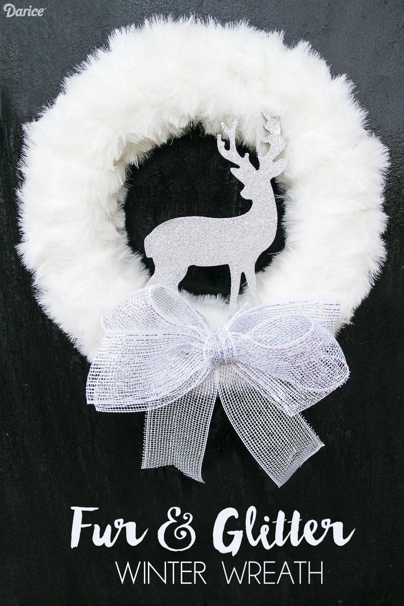 Photo of DIY Winter Wreath with Fur and Glitter Reindeer – Darice