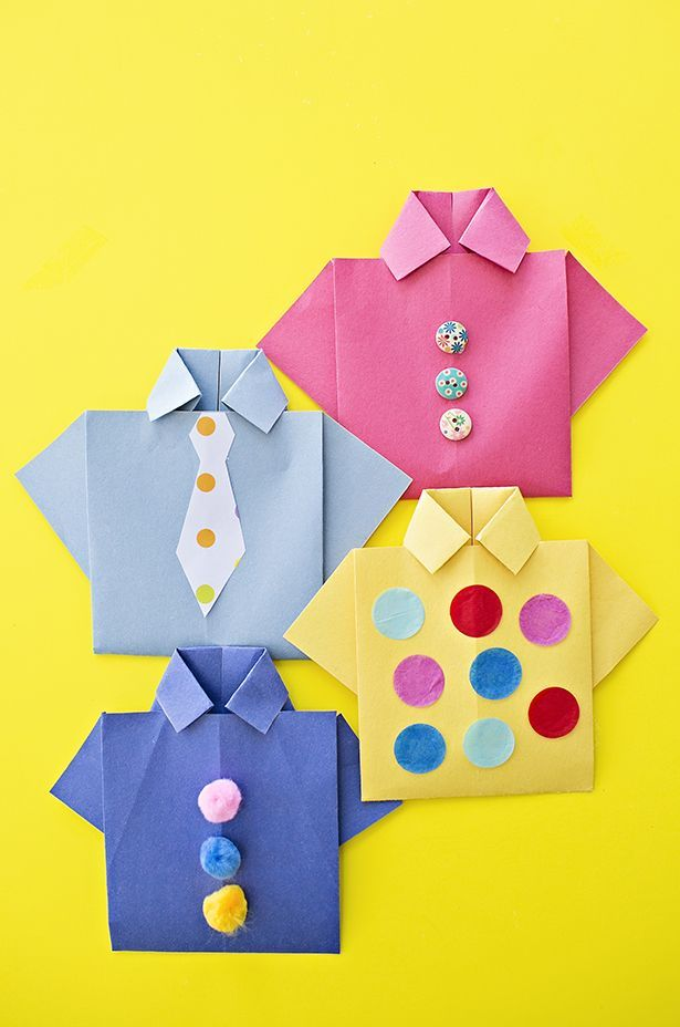 Easy Origami Father S Day Shirt Card Kids Can Decorate This Cute Card For Dad And Add A Special Photo And Messag Origami Shirt Origami Easy Fathers Day Crafts