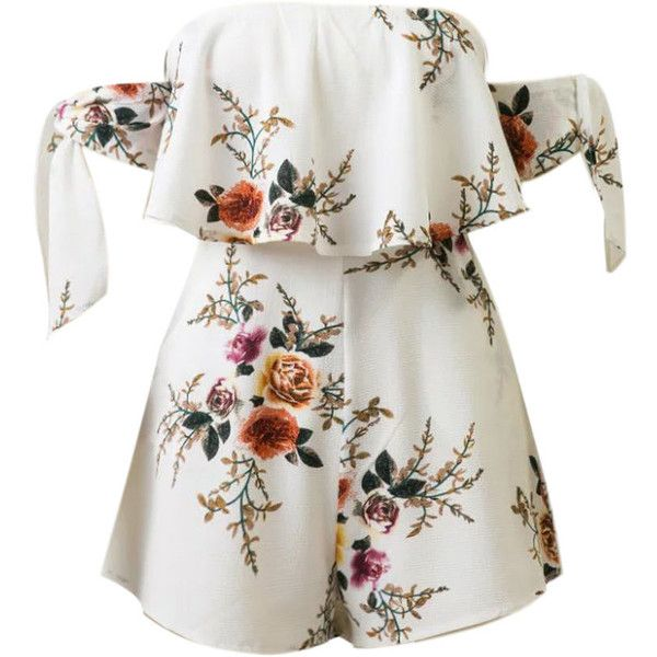 d881fb5c4e0 Tie Sleeve Off Shoulder Flounce Floral Printed Romper ( 42) ❤ liked on  Polyvore featuring jumpsuits