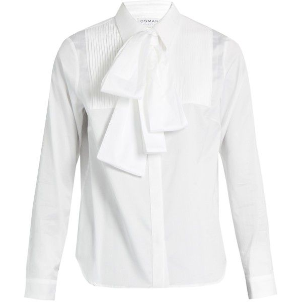Osman Perfect 5 Sanaz pleated-bib cotton shirt ($353) ❤ liked on Polyvore featuring tops, white shirt, white top, white cotton tops, osman and pintuck top