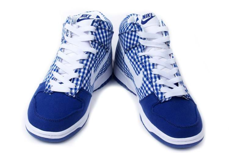 best authentic 97969 ee6ac Nike Dunk High Womens Sb Womens Skinny Navy Plaid Tablecloth White ...