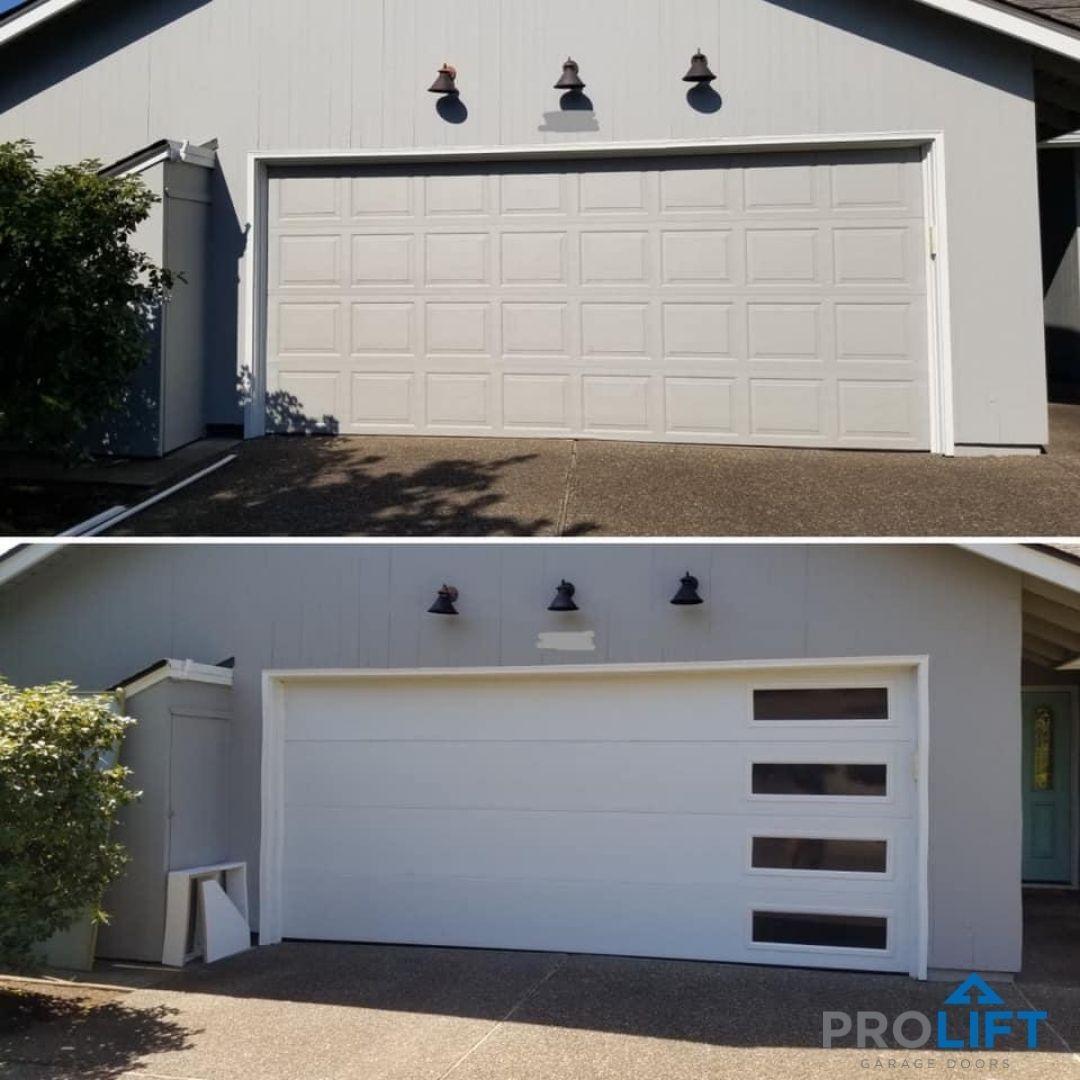 Mid Century Modern Garage Door Flush Panels And Long Windows Stacked Vertically Modern Garage Doors Contemporary Garage Doors Garage Door Styles