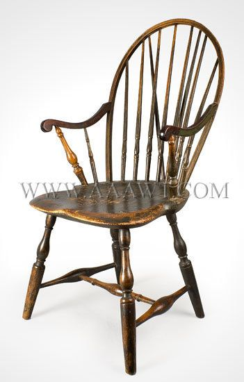 Exceptional Braced Bow Back Windsor Armchair Pipe Stem Spindles...mahogany Arms  Probably Rhode Island Circa 1775 1785