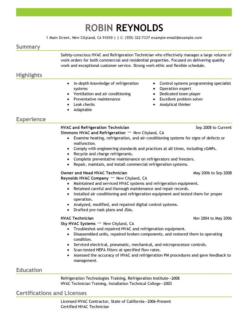 hvac maintenance supervisor resume sample