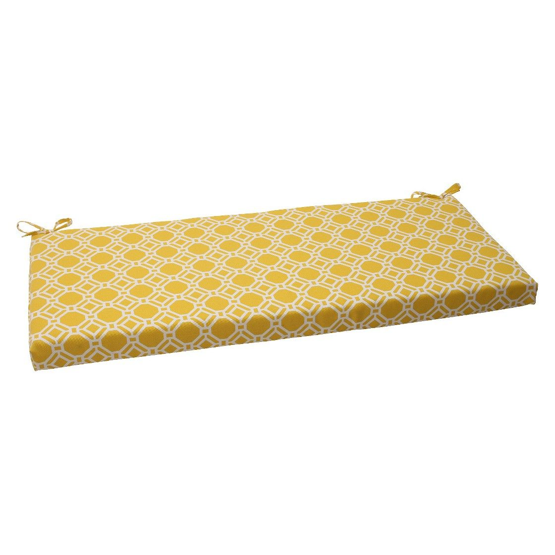 Outdoor Bench Cushion Yellow White Rossmere Geometric Adult