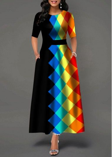 Half Sleeve Geometric Print Round Neck Maxi Dress #maxidress